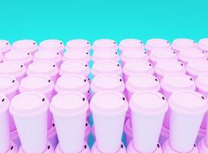 Plastic coffee cups